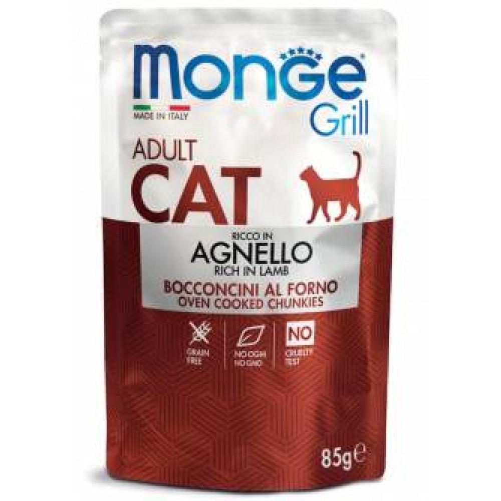 Monge Cat Grill Adult Lamb,влажный корм для взрослых кошек с ягненком,уп.85 гр.
