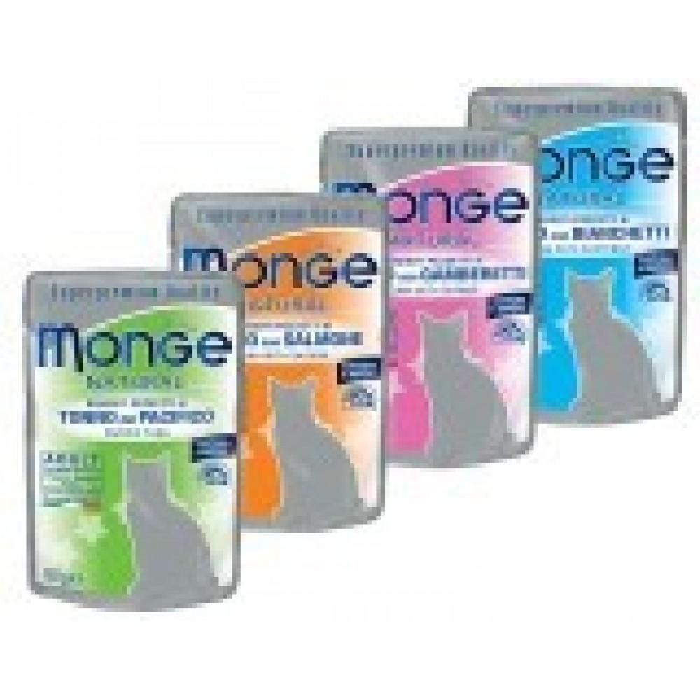 Monge Cat Pouches,тунец в желе с курицей и креветками, влажный корм для кошек, пауч 80гр.