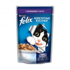 Felix,кусочки с ягненком в желе для кошек,пауч 85гр.