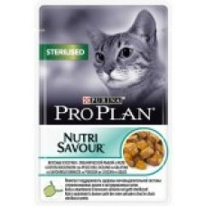 Pro Plan NutriSavour Sterilised, влажный корм для стерилизованных кошек с океанической рыбой в желе, пауч 85гр.
