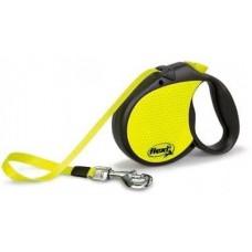 Flexi Neon L,поводок-рулетка желто-черная,для собак до 50 кг.,лента 5 м.