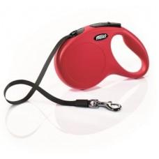 Flexi New Classic M,поводок-рулетка красная,для собак до 25 кг.,лента 5 м.