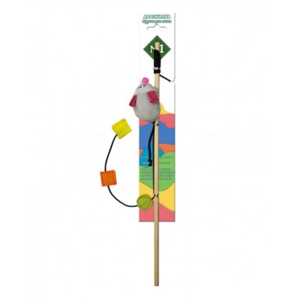 ЕвроПродукт №1,дразнилка мышь с веревочкой на палочке,40 см.