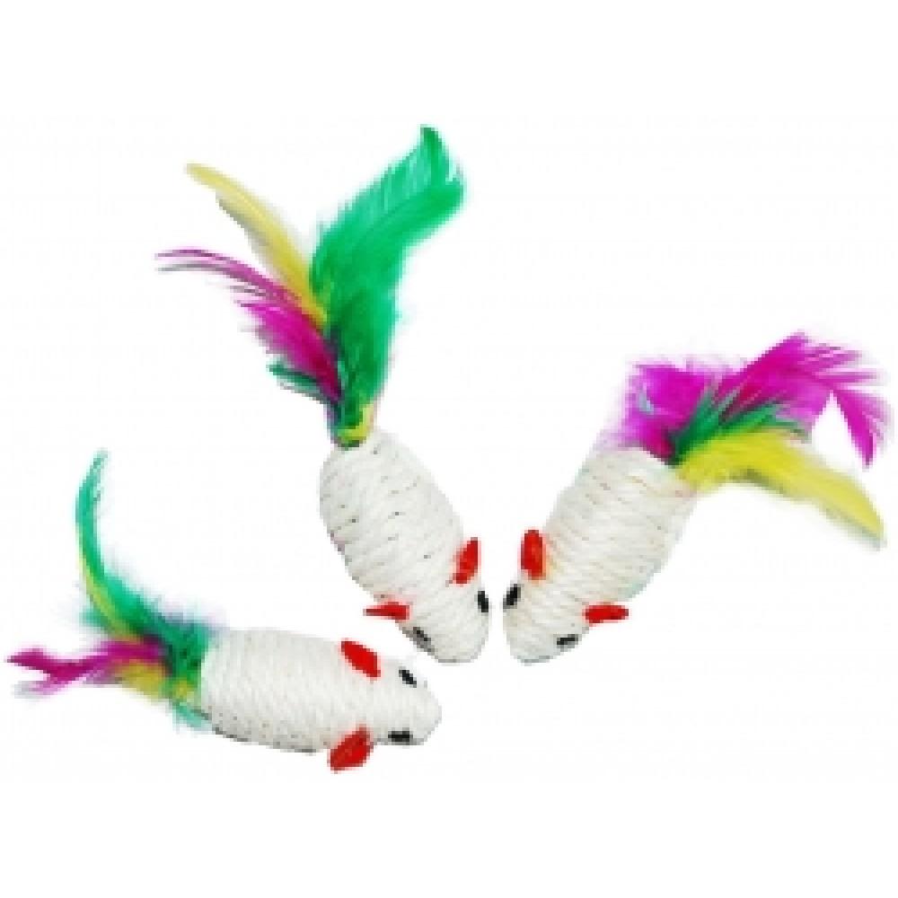 ЕвроПродукт УЮТ,мышь-погремушка,сизаль,белая с перьями,6,25 см.