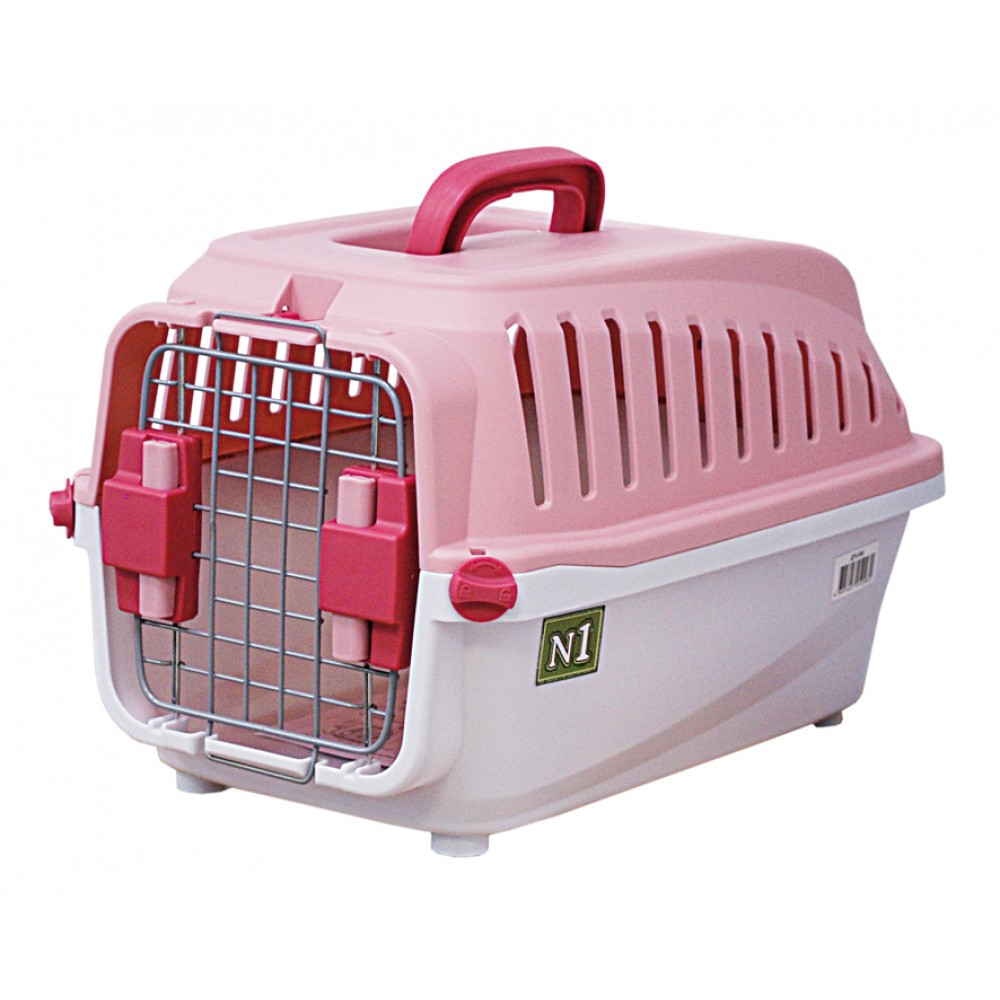 ЕвроПродукт №1,переноска пластиковая с замком,60*38*36,5 см.,до 10 кг.,розовая