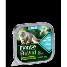 Monge BWild Cat Grain Free Paté terrine Merluzzo из трески с овощами для взрослых кошек. 100г