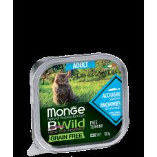 Monge BWild Cat Grain Free Paté terrine Acciughe - анчоуса с овощами для взрослых кошек.100г