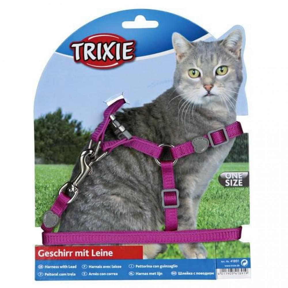 Trixie Premium,шлейка с поводком для кошки,26-37 см.