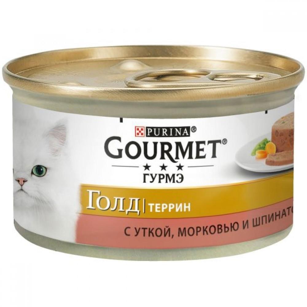 Gourmet Gold,кусочки в паштете с уткой, морковью и шпинатом по-французски,баночка 85гр.