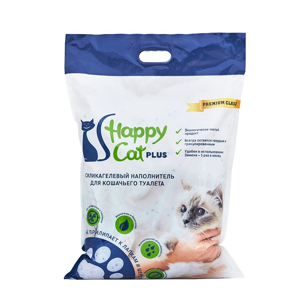 Happy Cat plus,силикагелевый наполнитель для кошек без ароматизатора,уп.22л.