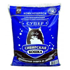 """Сибирская Кошка """"Супер"""",комкующийся наполнитель,уп.20 кг."""