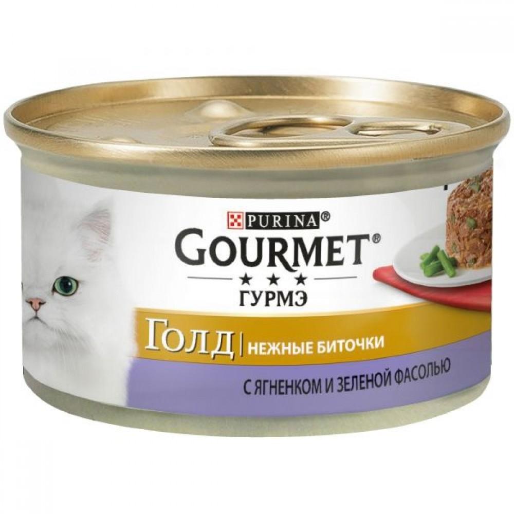 Gourmet Gold,нежные биточки, ягненок с зеленой фасолью, баночка 85 гр.