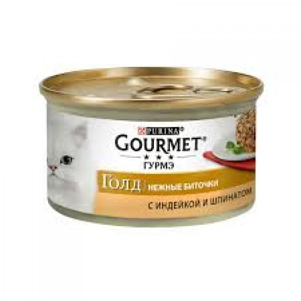 Gourmet Gold,нежные биточки, индейка со шпинатом, баночка 85 гр.