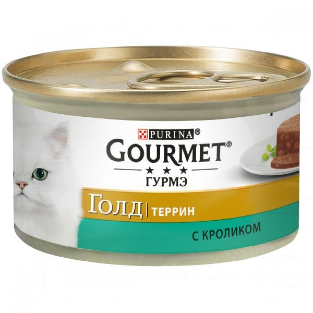 Gourmet Gold,кусочки кролика в паштете по-французски, баночка 85гр.