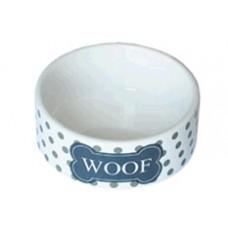 """ЕвроПродукт №1,миска керамическая бело-черная""""Woof"""",12,5*5 см."""