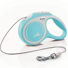 Flexi New Comfort XS, поводок рулетка голубая, для собак до 8 кг, трос 3м.