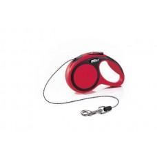 Flexi New Comfort XS, поводок рулетка красная, для собак до 8кг, трос 3м.