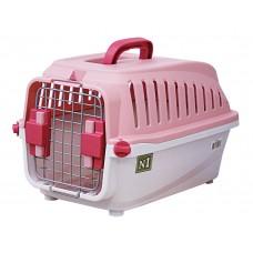 ЕвроПродукт №1,переноска пластиковая с замком,55*35*32,5,3 см,до 8 кг.,розовая