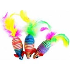 ЕвроПродукт УЮТ,мышь-погремушка,цветная с перьями,нейлоновое