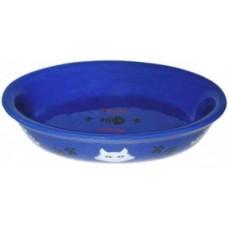 ЕвроПродукт №1,миска керамическая, овальная,синяя,15*10*3,5 см.