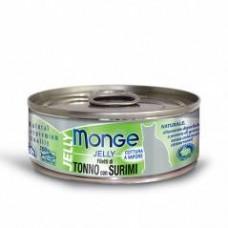 Monge Jelly Cat Cans,влажный корм для кошек в желе желтоперый тунец с сурими,банка 80 гр.