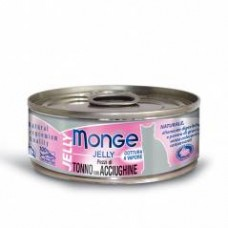 Monge Jelly Cat Cans,влажный корм для кошек в желе желтоперый тунец со снетками,банка 80 гр.