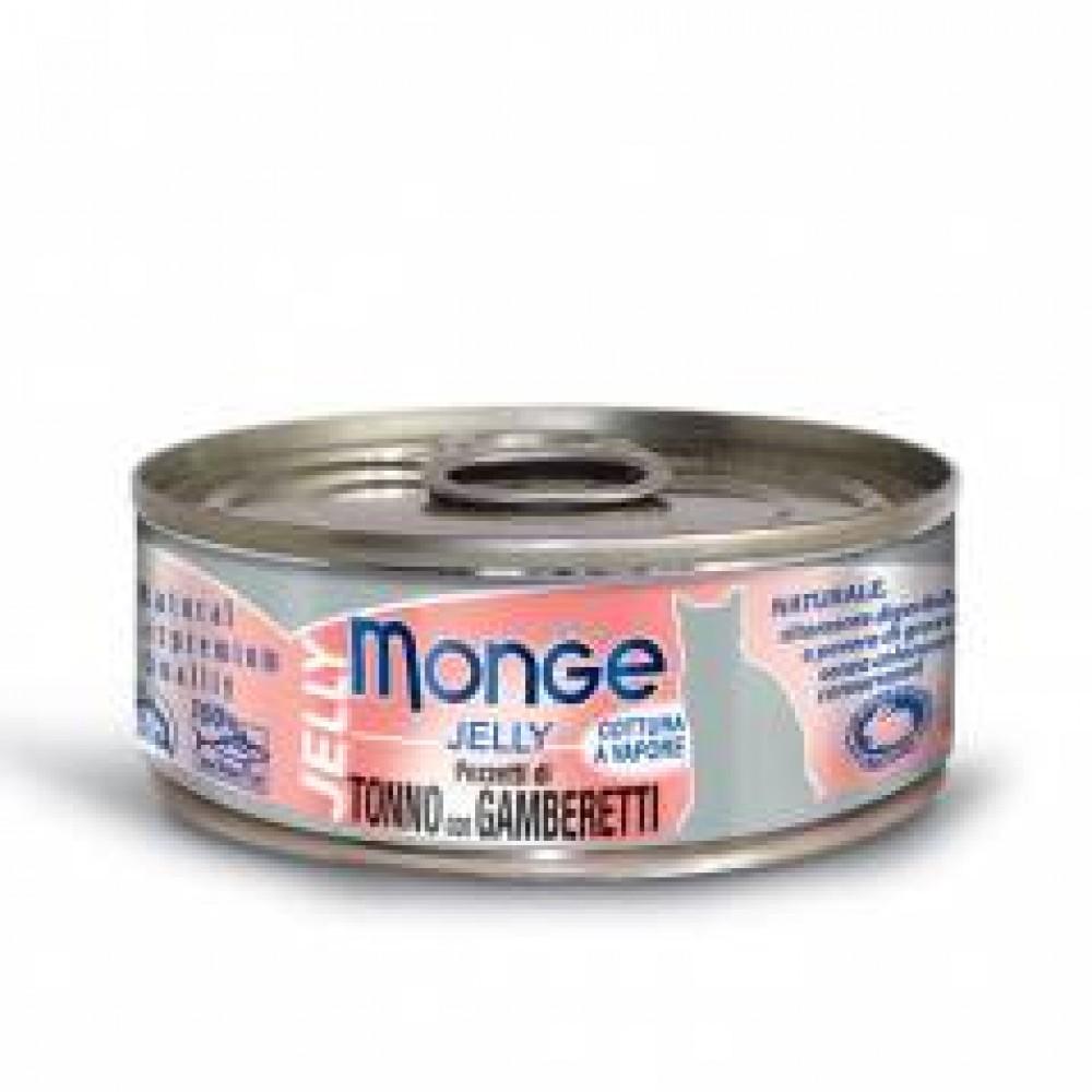 Monge Jelly Cat Cans,влажный корм для кошек в желе желтоперый тунец с креветками,банка 80 гр.