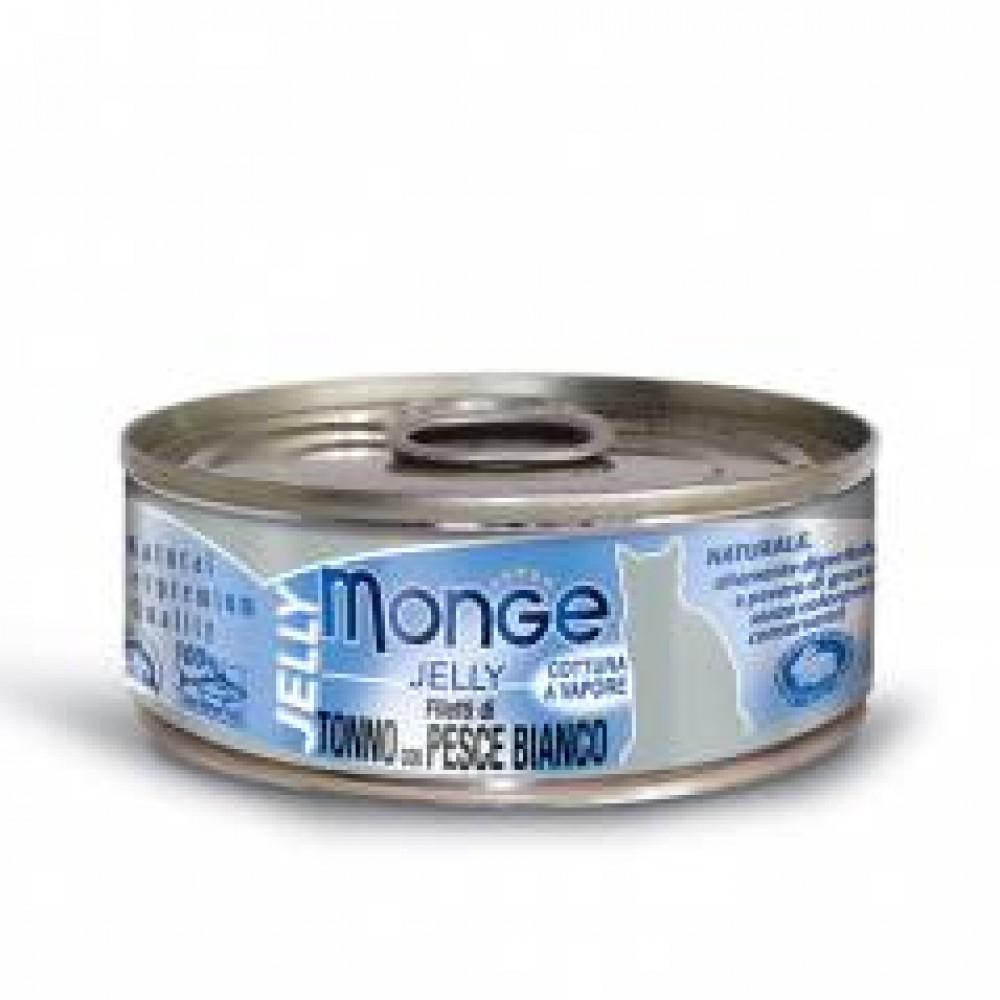 Monge Jelly Cat Cans,влажный корм для кошек в желе желтоперый тунец с морским карасем,банка 80 гр.