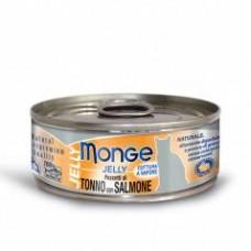 Monge Jelly Cat Cans,влажный корм для кошек в желе тунец с лососем,банка 80 гр.
