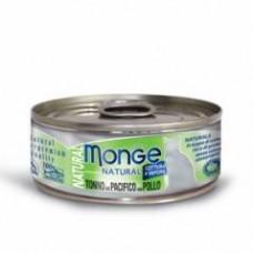 Monge Natural Cat Cans,влажный корм для кошек с желтоперым тунцом и курицей,банка 80 гр.