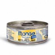 Monge Natural Cat Cans,влажный корм для кошек с курицей и кукурузой,банка 80 гр.
