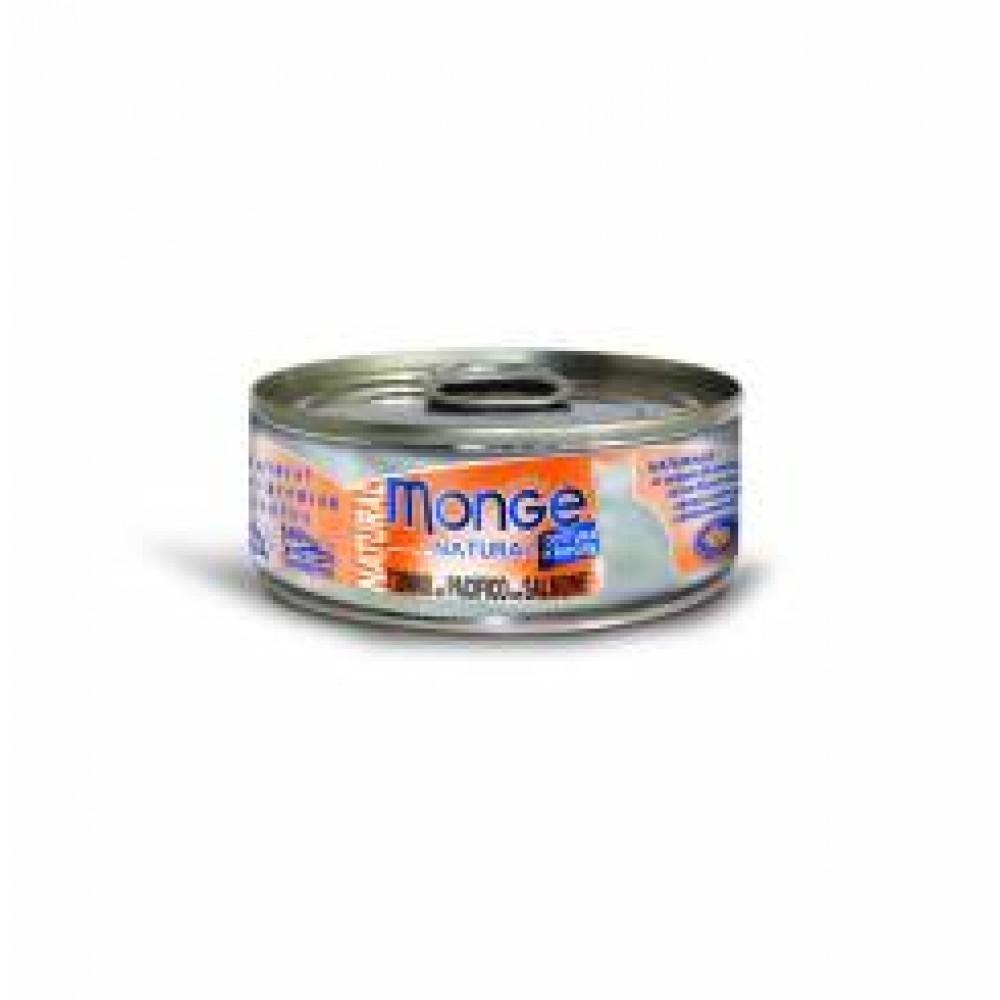 Monge Natural Cat Cans,влажный корм для кошек с желтоперым тунцом и лососем,банка 80 гр.