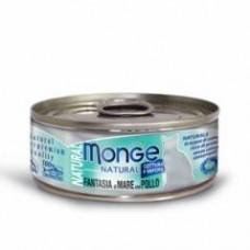 Monge Natural Cat Cans,влажный корм для кошек с курицей и морепродуктами,банка 80 гр.