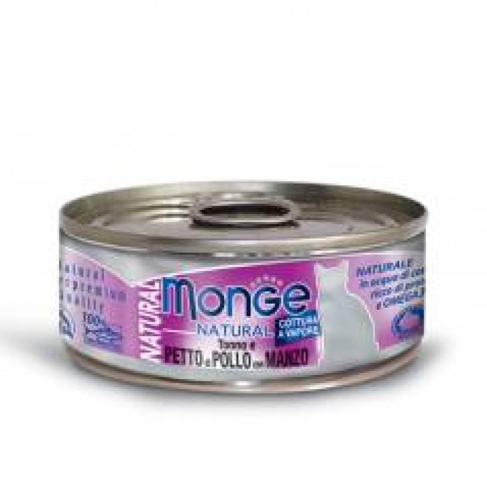 Monge Natural Cat Cans,влажный корм для кошек с цыпленком и говядиной,банка 80 гр.