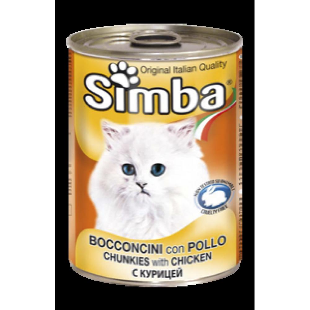 Simba Cans,кусочки с курицей для кошек, банка 415гр.