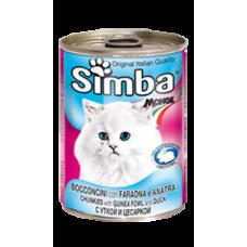 Simba Cans,кусочки с уткой и цесаркой для кошек, банка 415 гр.