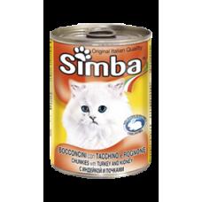 Simba Cans,кусочки с индейкой для кошек, банка 415 гр.