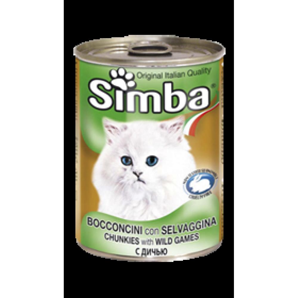 Simba Cans,кусочки с телятиной, олениной и дичью для кошек, банка 415 гр.