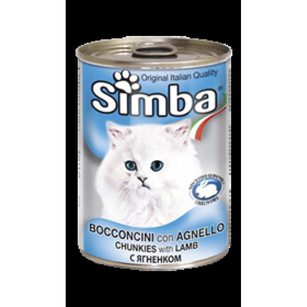 Simba Cans,кусочки с бараниной для кошек, банка 415 гр.