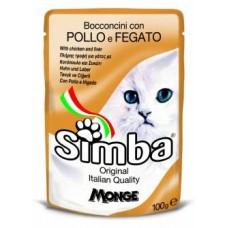 Simba Pouches,кусочки с курицей и печенью для кошек, пауч 100 гр.