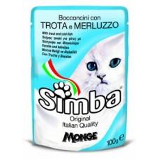 Simba Pouches,кусочки с форелью и треской для кошек, пауч 100 гр.